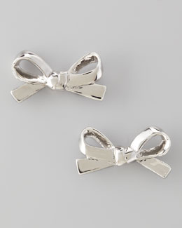 kate spade new york Mini Bow Stud Earrings, Silver