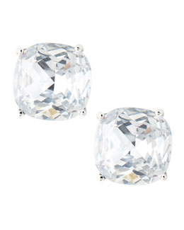 kate spade new york small square stud earrings, clear
