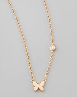 SHY by Sydney Evan Butterfly Bezel-Diamond Pendant Necklace