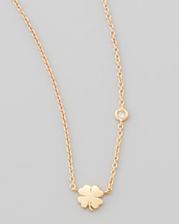 SHY by Sydney Evan Clover Bezel-Diamond Pendant Necklace