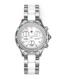 MICHELE Tahitian Diamond, Ceramic & Stainless Steel Watch, White