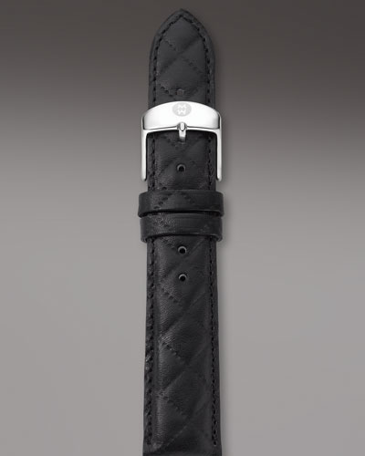 MICHELE 16mm Quilted Leather Watch Strap, Black
