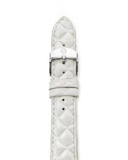 MICHELE 16mm Quilted Leather Watch Strap, White