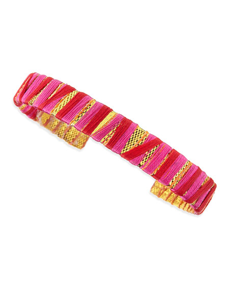 Thread-Wrapped Cuff, Red/Gold