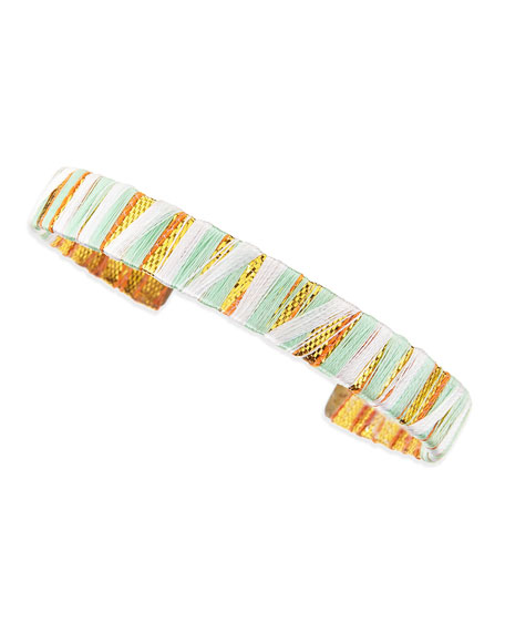 Thread-Wrapped Cuff, Pistachio/White/Gold