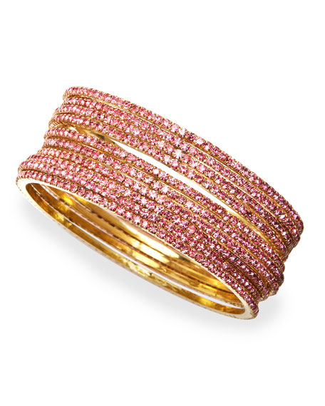 Set of 10 Crystal Bangles, Pink