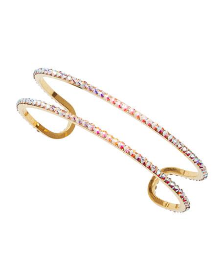 Iridescent Double-Line Cuff Bracelet