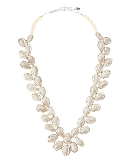 Petal Beaded Necklace, Bone