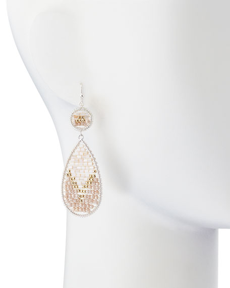 Beaded Double-Drop Earrings, Cream/Gold