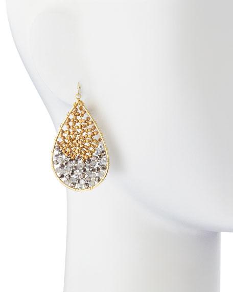 Two-Tone Beaded Teardrop Earrings, Silver/Gold
