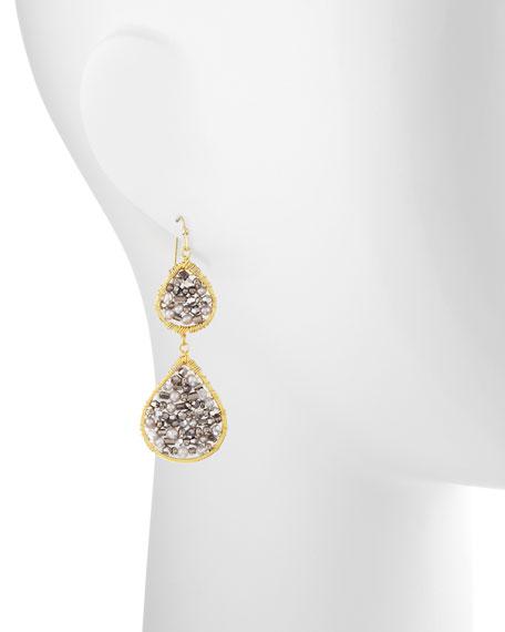 Beaded Double-Drop Earrings, Silver/Gold