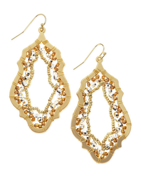 Moroccan Beaded Drop Earrings, Gold