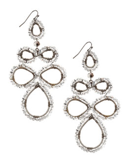 Nakamol Beaded Flower Pendant Earrings, Silver/Gunmetal