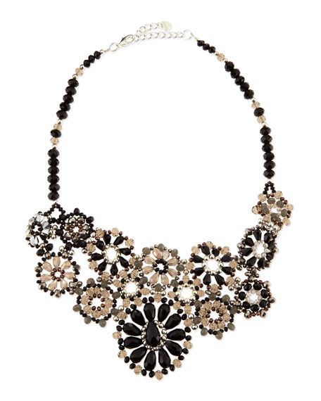 Beaded Flower Bib Necklace, Black