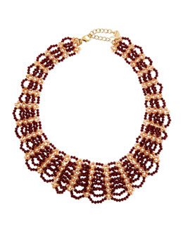 Nakamol Beaded Scalloped Bib Necklace, Bordeaux/Cream