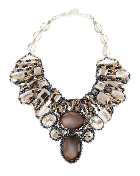 Multi-Crystal Beaded Statement Necklace