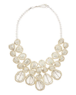 Nakamol Pearly Crystal Statement Necklace