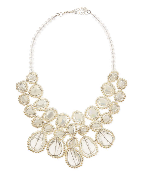 Pearly Crystal Statement Necklace