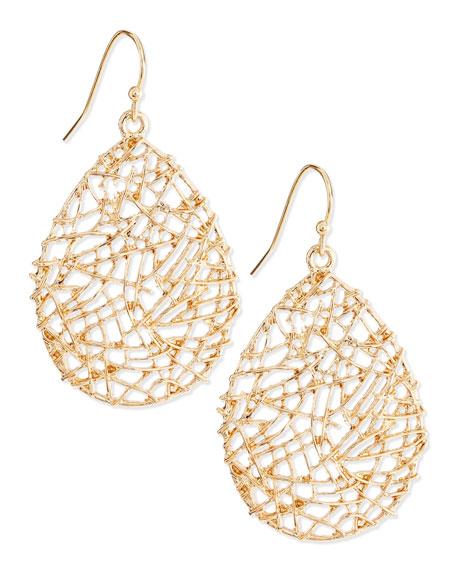 Golden Open-Work Drop Earrings