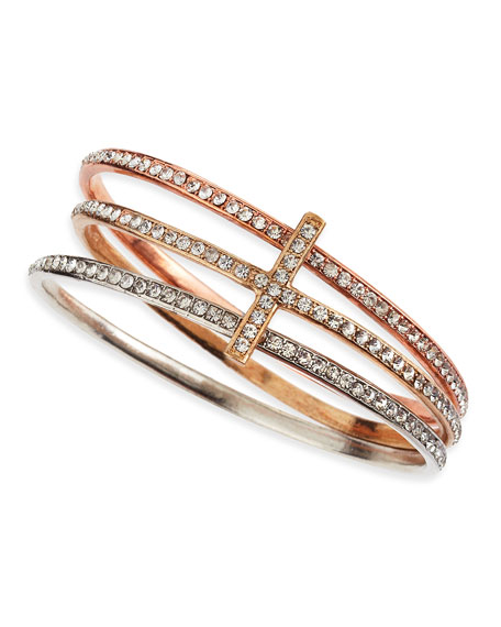 Tricolor Crystal Cross Bangle Set