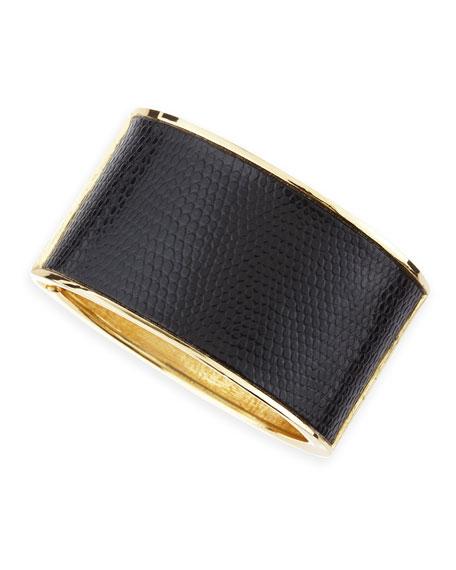 Embossed-Leather Hinge Bracelet
