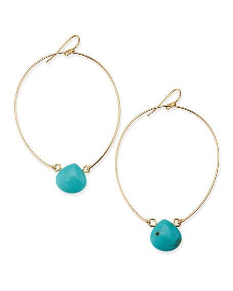 Teardrop-Crystal Wire Hoops, Turquoise