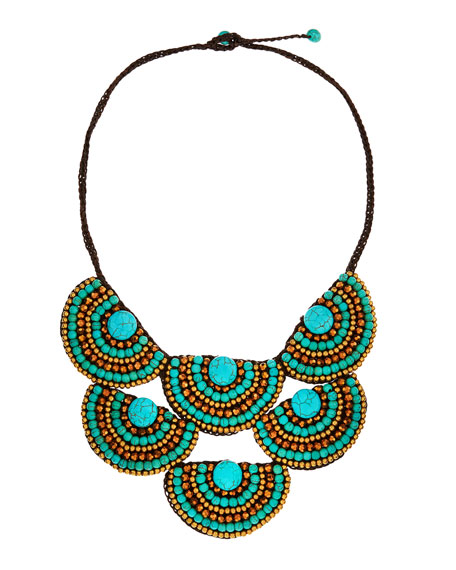 Beaded-Rope Bib Necklace, Turquoise