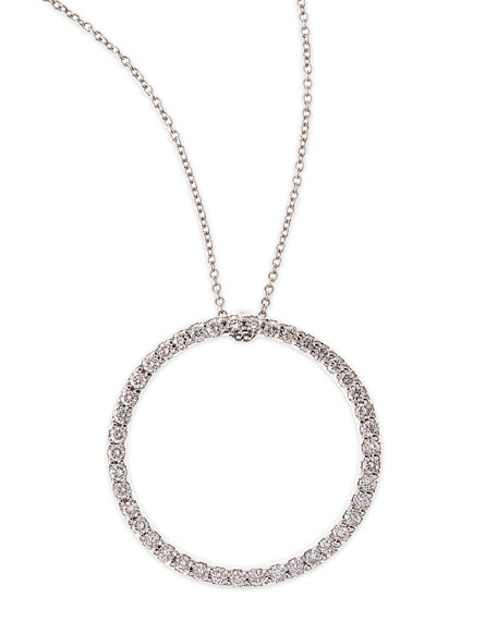 Roberto Coin 18k White Large Diamond Circle Pendant