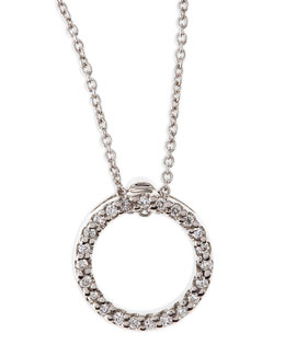 Roberto Coin 18k White XS Diamond Circle Pendant Necklace