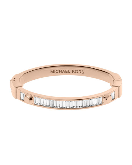 Astor Baguette Hinge Bangle, Rose Golden