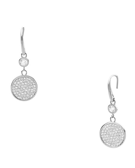 Pave Drop Earrings, Silver Color