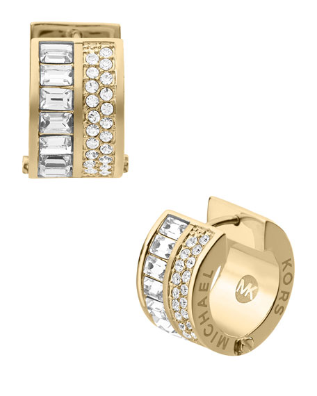 Pave/Baguette Crystal Hug Earrings, Golden