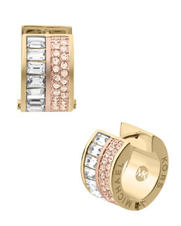 Michael Kors  Pave/Baguette Crystal Hug Earrings, Golden/Rose Golden