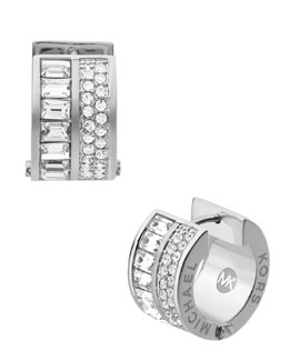 Michael Kors  Pave/Baguette Crystal Hug Earrings, Silver Color