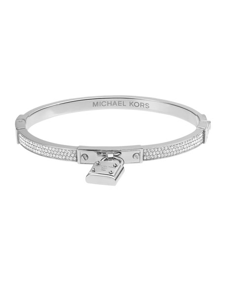 Pave Hinge Padlock Bangle, Silver Color