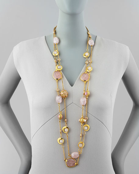 2-Strand Long Pink Quartz Necklace, 42""