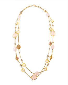 Jose & Maria Barrera 2-Strand Long Pink Quartz Necklace, 42""