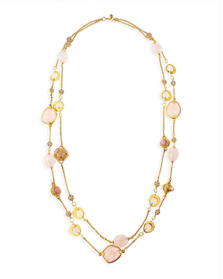 "2-Strand Long Pink Quartz Necklace, 42"""