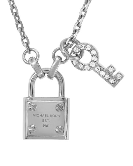 Lock & Key Pendant Necklace, Silver Color