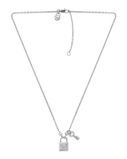 Michael Kors  Lock & Key Pendant Necklace, Silver Color