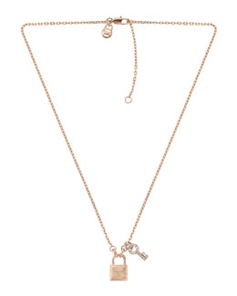 Michael Kors  Lock & Key Pendant Necklace, Rose Golden