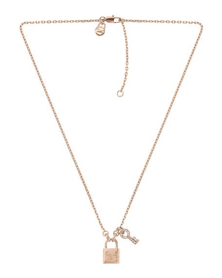 Lock & Key Pendant Necklace, Rose Golden