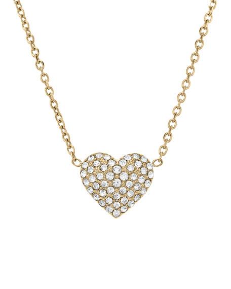 Pave Heart Pendant Necklace, Golden