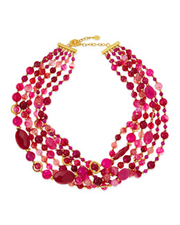 Jose & Maria Barrera 6-Strand Twisted Agate Necklace, Hot Pink