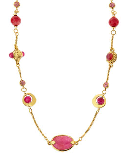 "Jose & Maria Barrera Long Pink Agate Station Necklace, 44""L"