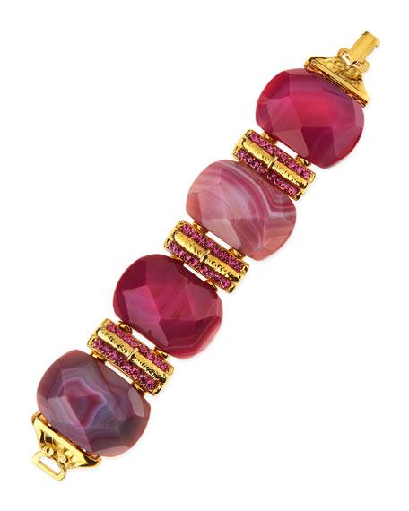 Big Stone Bracelet, Dyed Pink Jade