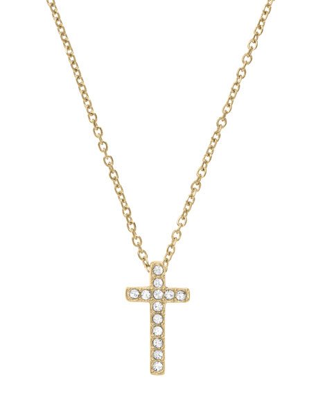 Pave Cross Pendant Necklace, Golden