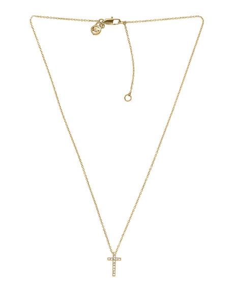 Pave Cross Pendant Necklace, Golden