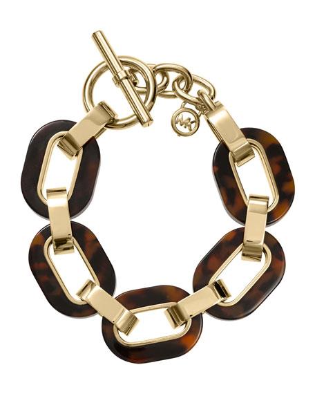 Link Bracelet, Golden/Tortoise