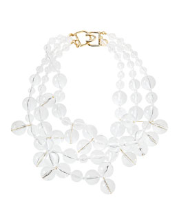 Kenneth Jay Lane Beaded Cluster Necklace, Clear